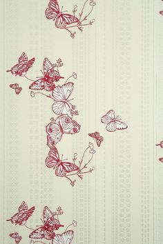 """Butterflies are used to make a very peaceful and artistic pattern that can be used anywhere. With a closer look, other bugs can also be seen walking up the paper. Wallpaper is 52cm (20.5"""") wide and co"""
