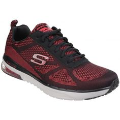 Skechers Skech-Air Infinity Memory Foam Lace Up Red/Black Trainer Mens Trainers, Skechers, Nice Tops, Memory Foam, Infinity, Lace Up, Red Black, Shopping, Sports