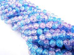 Código: CG1007. Cristal gel 8mm color azul c/rosa claro, collar c/105 pzas, $12.00 pesos por collar, precio especial a mayoristas.