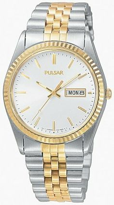 Pulsar Men's PXF108 Watch Pulsar. $75.00. Water-resistant to 330 feet (100 M). Quality Japanese-quartz movement. Stainless-steel case; silver-and-white dial; date function. Case diameter: 35 mm. Strong mineral crystal protects watch from excessive wear on dial. Save 40%!