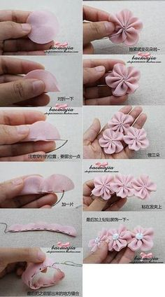 Best 12 Cloth flower making is fun and easy. These cloth flowers look so pretty and are great for adding to brooches, hair clips and necklaces.Ribbon Sakura or plum blossomsThis Pin was discovered by Flo - Sa Diy Hair Bows, Diy Bow, Diy Ribbon, Ribbon Crafts, Flower Crafts, Fabric Crafts, Sewing Crafts, Ribbon Work, Ribbon Hair