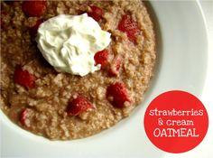 Family Feedbag: Strawberries & Cream Oatmeal! Strawberries, all natural sugars and a dollop of Greek yogurt? I am SUCH a fan.