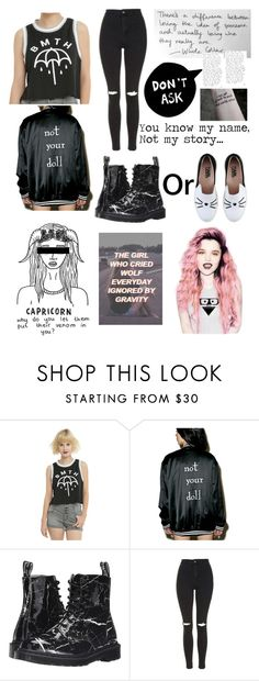 """""""I'm not your doll..."""" by that-1-awkward-friend1234 ❤ liked on Polyvore featuring Dr. Martens, Topshop and Karl Lagerfeld"""