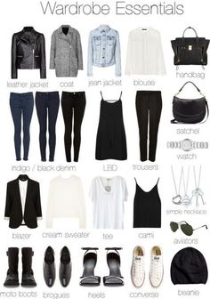 // Capsule Wardrobe : Tips and Collagen Wardrobe Essentials for Women - gives you ideas on what to t Trend Fashion, Look Fashion, Autumn Fashion, Womens Fashion, Fashion Tips, Travel Fashion, Fashion Ideas, Travel Style, Fashion 2018