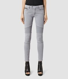 Womens Biker Jeans/Light Grey (Light Grey) - product_image_alt_text_2