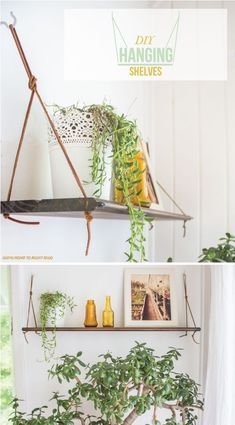 AT DIY easy hanging shelves from rope & boards - just need a drill and dowels or nails (which go into the rope under each shelf hole to hold the plank in place).