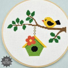 Bird on a Branch Cross Stitch Pattern Download sent by Sewingseed, $4.00