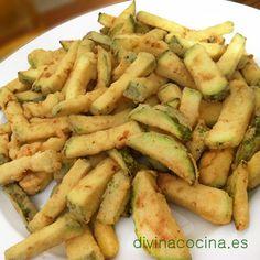 bastoncitos de berenjenas y calabacin fritos, fritura de berenjena, fritura de calabacín