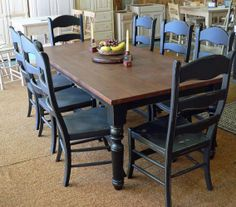 butcher block table. need to paint ours like this! Love this style of table / ladder back chairs