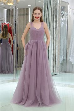 Simple A Line Sweetheart Long Lilac Tulle Ruched Prom Dress With Straps Lilac Prom Dresses, Straps Prom Dresses, Prom Dresses 2018, Cheap Prom Dresses, Cute Dresses, Formal Dresses, Wedding Dresses, Beautiful Gowns, Skirt Set