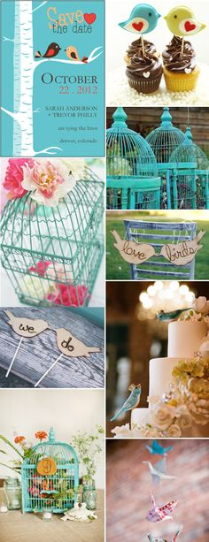 teal bird cages