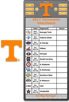 Get your 2017 Tennessee Volunteers Football Schedule App for Mac OS X - Go Big Orange! - National Champions 1998, 1967, 1951, 1950, 1940, 1938 Download yours at: http://2thumbzmac.com/teamPages/Tennessee_Volunteers.htm