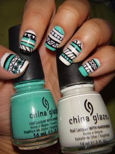Tribal Nail Art using White on White and Aquadelic by Tanya Young