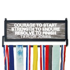 Personalized Race Medal Display Courage to Start by GoneForaRUN, $49.99