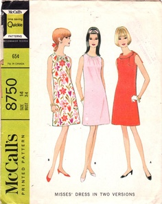 McCalls 8750  1960s Misses  Mod Shift  Dress  Pattern vintage sewing pattern  by mbchills