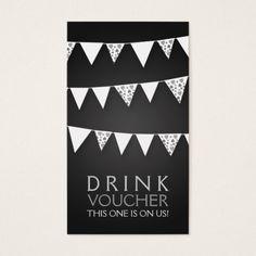 Elegant Drink Voucher Love Bunting Monogram Black Business Card