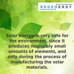 Interesting Fact: Solar energy is very safe for the environment since it produces negligibly small amounts of elements and only during the process of manufacturing the solar materials. Contact Regenergy today for your energy solution! www.regenergy.co.za  #solarenergy #energy #green #solarpower #sustainability #solar #renewableenergy #cleanenergy #energyefficiency #solarpowered #sustainableenergy #power #solarfact #offthegrid #goinggreen #solarinstallation #solarsupplier #southafrica… Renewable Energy, Solar Energy, Solar Power, Solar Installation, Sustainable Energy, Energy Efficiency, Sustainability, Fun Facts, Environment