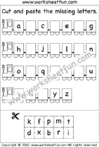 Lowercase Letters – Cut and Paste the Missing Letters – 3 Worksheets / FREE Printable Worksheets – Worksheetfun Kindergarten Addition Worksheets, First Grade Math Worksheets, English Worksheets For Kids, Letters Kindergarten, Preschool Kindergarten, Printable Alphabet Worksheets, Tracing Worksheets, Cut And Paste Worksheets, Matching Worksheets