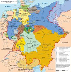 The German Confederation 1815–1866. Prussia (in blue) considerably expanded its territory.