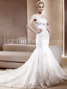 Gorgeous Trumpet/ Mermaid Strapless Chapel Train Taffeta Wedding Dress - USD $ 299.99