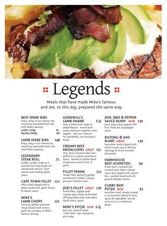 Mike's Kitchen Legends - Halaal - Meals that have made Mike's famous and are, to this day, prepared the same way Lamb Shanks, Spare Ribs, Beef Ribs, Legends, Menu, Stuffed Peppers, Kitchen, Food, Menu Board Design