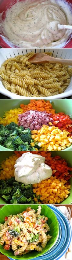 1 cup Greek yogurt (fat free is great!) 1/4 cup Miracle Whip 1 packet (+ additional depending on your taste) ranch dressing mix 1 lb pasta, cooked 2 large carrots 1 1/2 cups broccoli 1 cup ham 1 cup cheese 1/2 yellow bell pepper 1/2 red bell pepper
