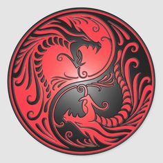 Yin Yang Dragons, red and black Round Sticker - Custom Stickers tattoos male tattoos band tattoos men tattoos forearm Arte Yin Yang, Ying Y Yang, Yin Yang Art, Red Dragon Tattoo, Dragon Sleeve Tattoos, Tribal Dragon Tattoos, Dragon Yin Yang Tattoo, Yin Yang Tattoos, Maori Tattoos