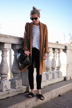 LE FASHION BLOG CLASSIC EASY COMBO PART 10 CAMEL COAT AND STRIPES LUCY WILLIAMS FASHION ME NOW TOP KNOT RAY BAN WAYFARER SUNGLASSES LONG CAM...