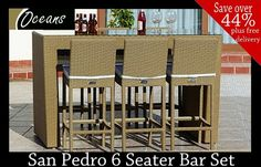 Our San Pedro Bar Set is designed by Oceans for the modern home & hospitality establishments. The set has an aluminium frame which makes it rust resistant, hard wearing & durable, with the stools having high backs & cushions to give additional comfort.