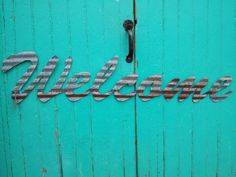 WELCOME sign in Kansas Barn Tin Junk Rusty wall by Studio11Online