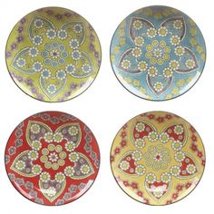 Bohemian Hand Painted Stoneware Plates Dishwasher Safe!    Bohemian Hand Painted Stoneware Plate    Mix and Match to add fun and color to your table!    8″ Diameter    $12.00