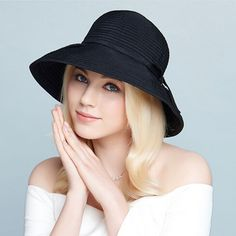 8f14e678790 Ladies sun hat with bow summer ruffle UV bucket hats package