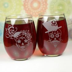 Sugar Skull Couple Set of Etched Stemless Wine Glasses by Glass Blasted, available at: https://www.etsy.com/listing/175102502/sugar-skull-couple-set-of-etched