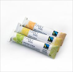 Packaged in 6g compostable cardboard tubes, 100% vegan and edible products. Made in Vancouver from fair trade ingredients imported from fair trade producers around the world. No parabens or artificial colours or fragrances Choose Mint, Lemon or Vanilla-Orange. $6 each. http://www.fairplanet.ca/shopping/pgm-more_information.php?id=361&=SID