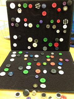 Buttons with Velcro to create Braille Art....or to create the alphabet in Braille, as shown above. (from Merry-Noel Chamberlain, TVI) Visit pinterest.com/wonderbabyorg for more braille ideas!