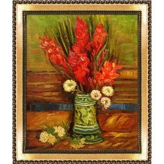 Tori Home Vase with Gladioli by Vincent Van Gogh Framed Painting