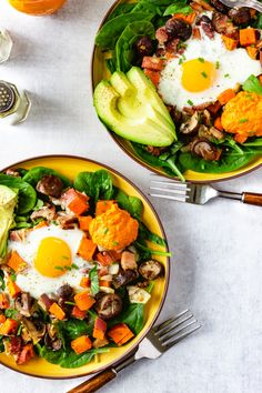 Sheet Pan Sweet Potato Hash with Baked Eggs & Romesco! Sweet potatoes, mushrooms onions, and bacon are tossed in a garlicky herb lemon oil and roasted. Eggs are then cracked on top and baked. Serve with homemade romesco and you suddenly have a tasty breakfast fit for a crowd! #glutenfreerecipes #sheetpanmeal #easybreakfastrecipes | passmesometasty.com