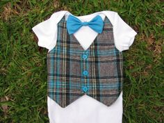 Baby Boy Plaid Tuxedo Vest Short Sleeve White by DisarrayDesigns, $25.00-out fit for 1st bday party?