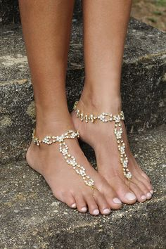 Gold barefoot Sandals, silver Ankle Chain, body jewelry, Beach wedding jewelry, , rhinestone Jewelry. Style: Reflection barefoot sandals