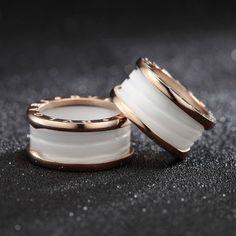 18K Rose Gold Plated Ceramic White Silk Scarf Ring #