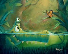 Friends Along The Way by artist Rob Kaz Frog Illustration, Cute Animal Illustration, Animal Drawings, Cute Drawings, Cute Cartoon, Cartoon Art, Natur Wallpaper, Baby Art, Cute Art
