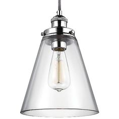 The antiquated lighting style armed and surrounded with an ultra-clean, new-age exterior, the Feiss Baskin Cone Nickel Pendant revives the industrial era lamp with a contemporary look. A fine steel base gives the Baskin Cone Nickel Pendant a modernized feel, which works in direct contrast to the vintage filament bulb at its center. Surrounding the focal point is thick clear glass to diffuse light with a warm glow. Line several Baskins together for efficient task or island lighting.