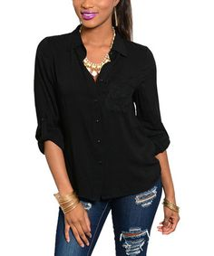 This Black Roll-Tab Button-Up Top - Women is perfect! #zulilyfinds