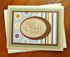 Get Well Card, Green and Brown, Nice for Men or Women, Paper Handmade Greeting Card, Handmade Get Well Card, Geometric Paper