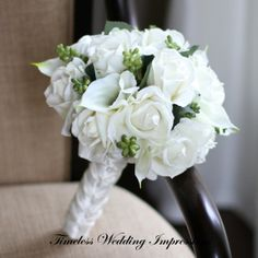 TWI Silk Bouquet White Wedding Flowers Roses Calla Lilies Real Touch Bridal - featured in: https://www.etsy.com/treasury/MTAyMjQ4MzZ8MjcyNTUzMzE4MA/black-and-white-wedding-affair?index=0&atr_uid=