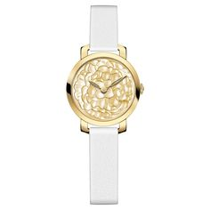 Chaumet Hortensia collection watch in yellow gold featuring a dial with rounded marquetry and polished gold mother of pearl decorated with a pattern of hydrangea flowers.