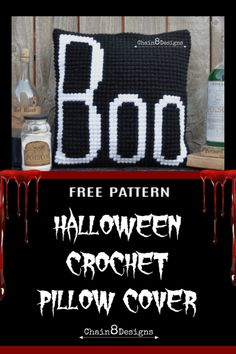 Halloween is fast approaching, which means it's time to get decorating. Add to your spooktacular Halloween decor with this bootiful crochet pillow cover. Diy Crochet Pillow, Crochet Pillow Patterns Free, Free Crochet, Crochet Pumpkin Pattern, Halloween Crochet Patterns, Crochet Fall, Holiday Crochet, Halloween Pillows, Halloween 2020