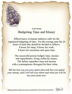 Book of Shadows:  #BOS Principles of Success Scroll 16 Budgeting Time and Money Page.