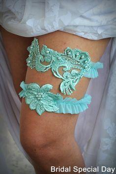 Bridal Garter Teal Blue Wedding Lace Set Something