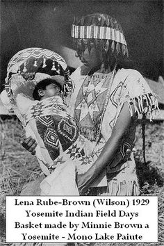 Yosemite Native Lena Brown holding baby in Mono Paiute basket by Yosemite Native American, via Flickr